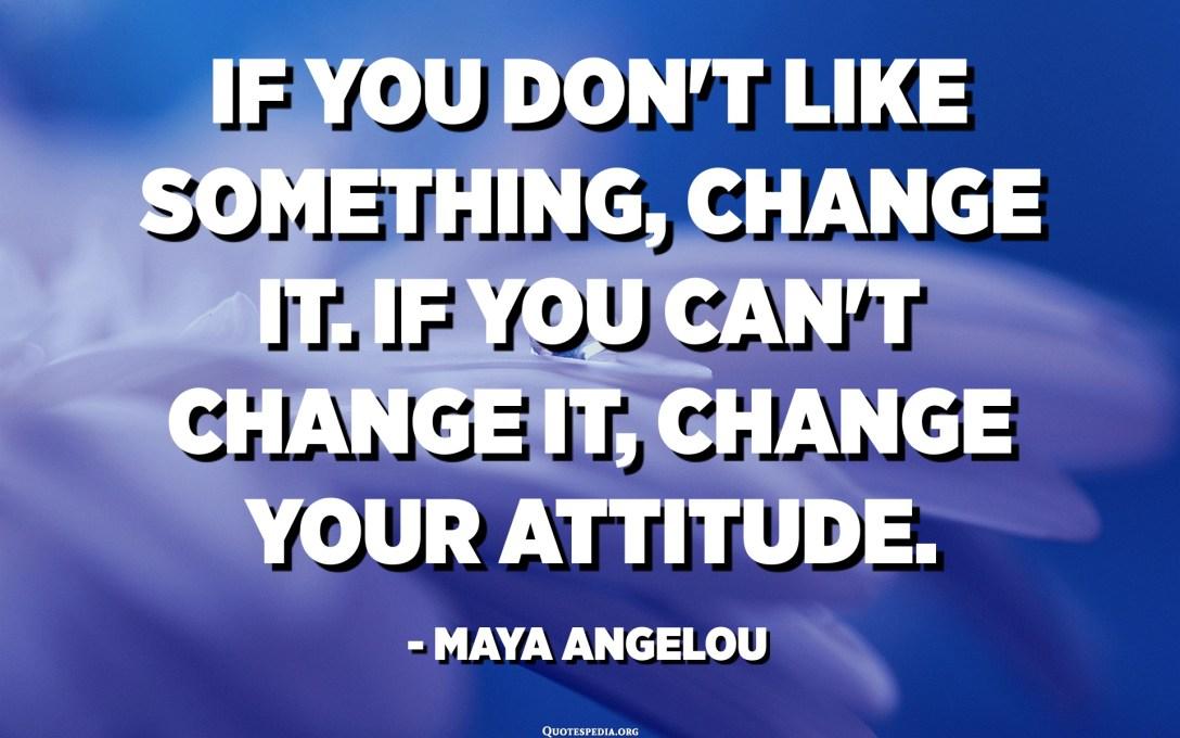 إذا كنت لا تحب شيئًا ، فقم بتغييره. إذا كنت لا تستطيع تغييره ، قم بتغيير موقفك. - مايا أنجيلو