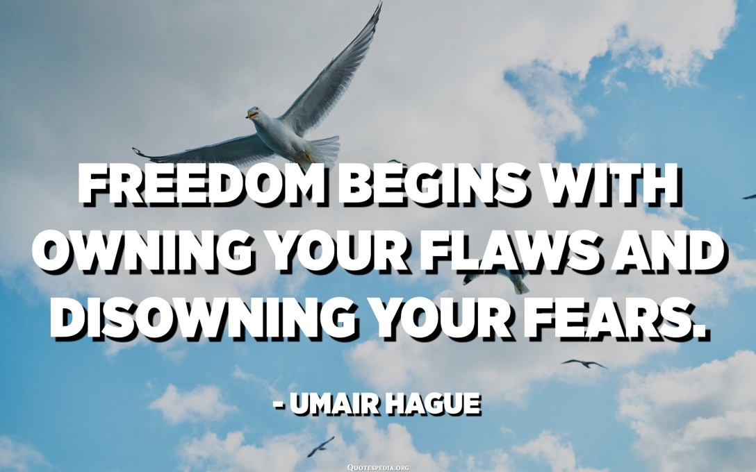 Freedom begins with owning your flaws and disowning your fears. - Umair Hague