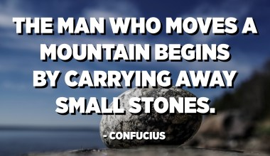 The man who moves a mountain begins by carrying away small stones. - Confucius