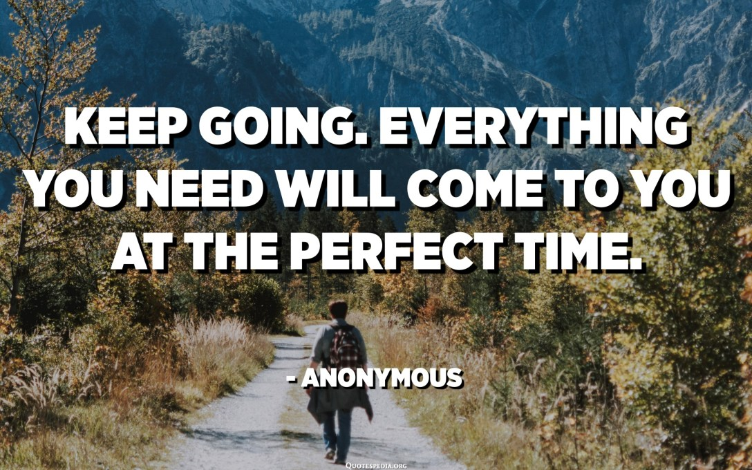 Keep going. Everything you need will come to you at the perfect time. - Anonymous