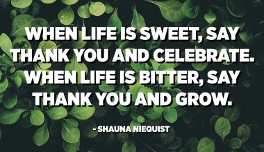 When life is sweet, say thank you and celebrate. When life is bitter, say thank you and grow. - Shauna Niequist