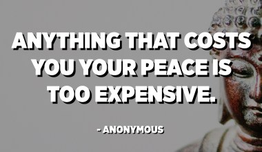 Anything that costs you your peace is too expensive. - Anonymous