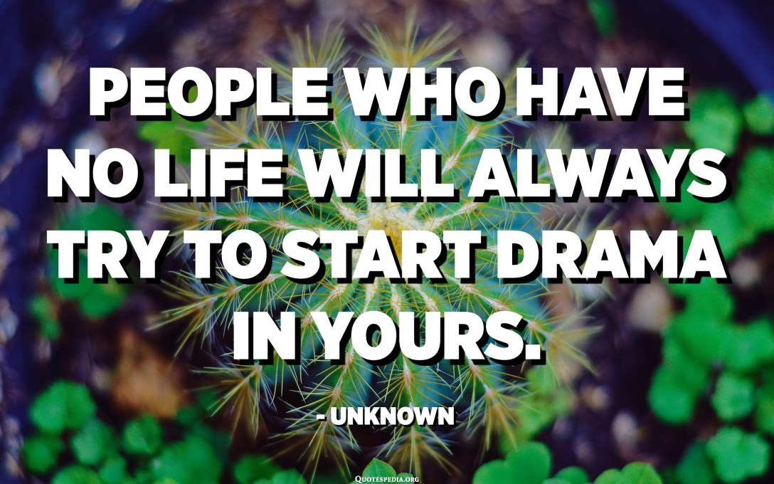 People who have no life will always try to start drama in yours. - Unknown