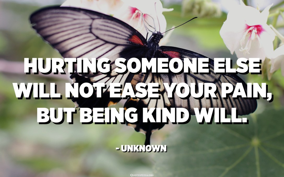 Hurting someone else will not ease your pain, but being kind will. - Unknown