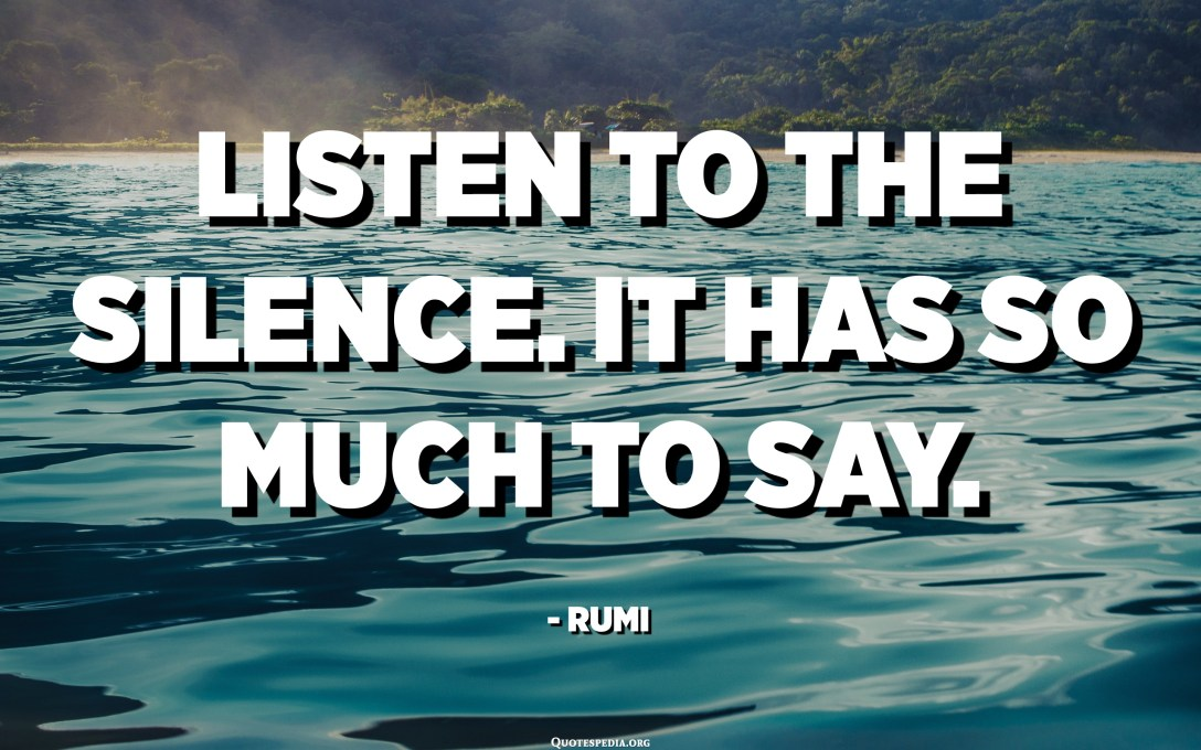 Listen to the silence. It has so much to say. - Rumi