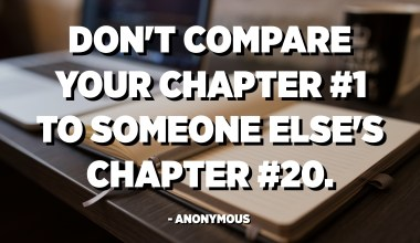 Don't compare your Chapter 1 to someone else's Chapter 20. - Anonymous