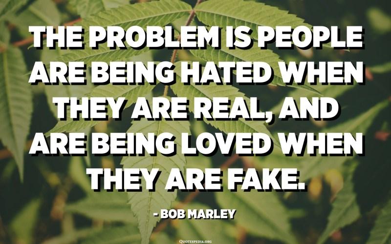 Masalahe yaiku wong disengiti nalika nyata, lan disenengi nalika palsu. - Bob Marley