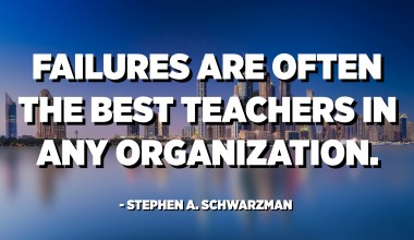 Failures are often the best teachers in any organization. - Stephen A. Schwarzman