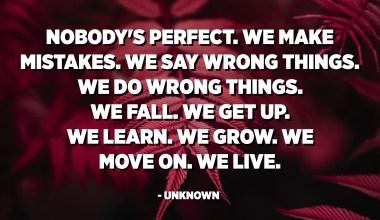 Ningú és perfecte. Ens equivoquem. Diem coses equivocades. Fem coses malament. Caurem Ens aixequem. Nosaltres aprenem. Creixem. Passem endavant. Vivim. - Desconegut
