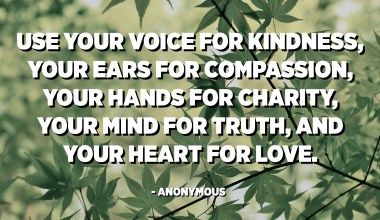 Use your voice for kindness, your ears for compassion, your hands for charity, your mind for truth, and your heart for love. - Anonymous