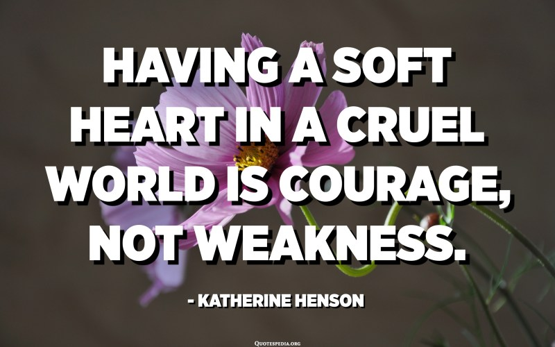 Having a soft heart in a cruel world is courage, not weakness. - Katherine Henson
