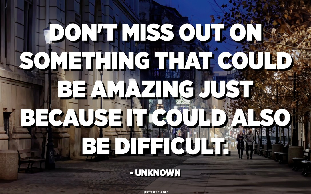 Don't miss out on something that could be amazing just because it could also be difficult. - Unknown