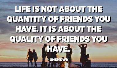 الحياة لا تتعلق بكمية الأصدقاء لديك. يتعلق الأمر بجودة الأصدقاء لديك. - مجهول