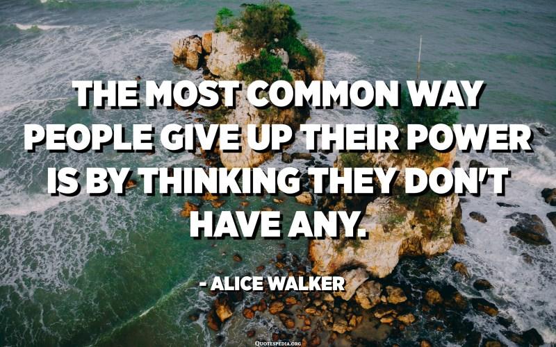 La forma més comuna de renunciar al poder és pensant que no en té cap. - Alice Walker