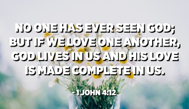 No one has ever seen God; but if we love one another, God lives in us and his love is made complete in us. - 1 John 4:12
