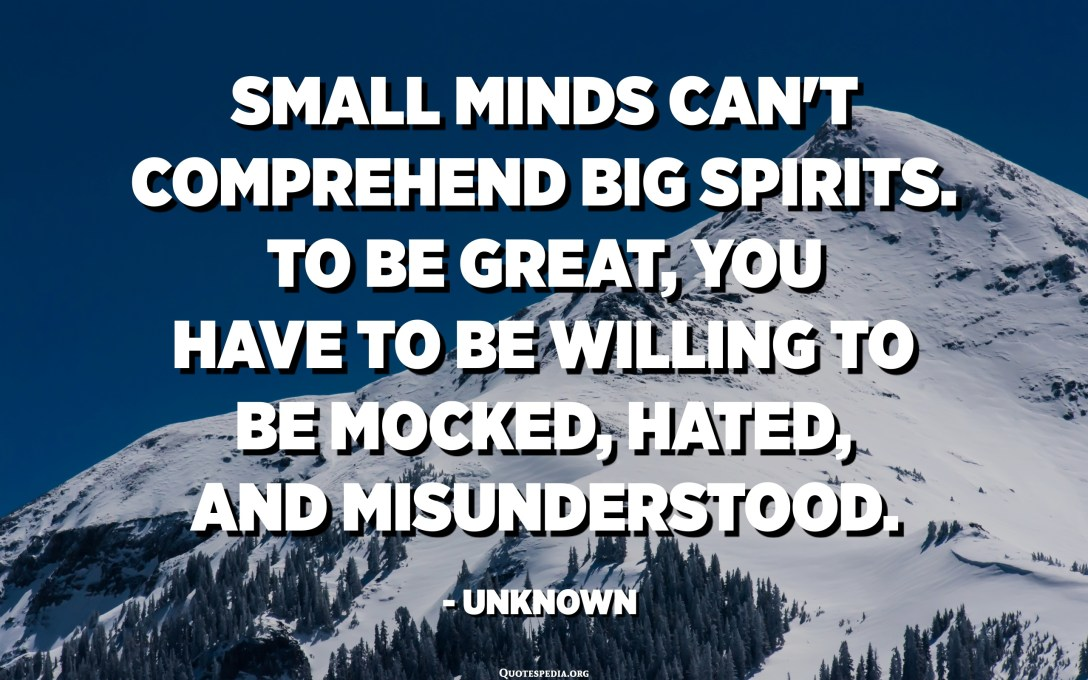 Small minds can't comprehend big spirits. To be great, you have to be willing to be mocked, hated, and misunderstood. - Unknown