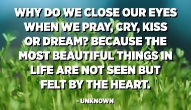 Per què tanquem els ulls quan preguem, plorem, besem o somiem? Perquè les coses més boniques de la vida no es veuen, sinó que se senten pel cor. - Desconegut