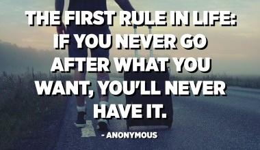 The first rule in life: If you never go after what you want, you'll never have it. - Anonymous