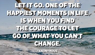 Laisser aller. L'un des moments les plus heureux de la vie, c'est quand vous trouvez le courage de laisser tomber ce que vous ne pouvez pas changer. - Anonyme