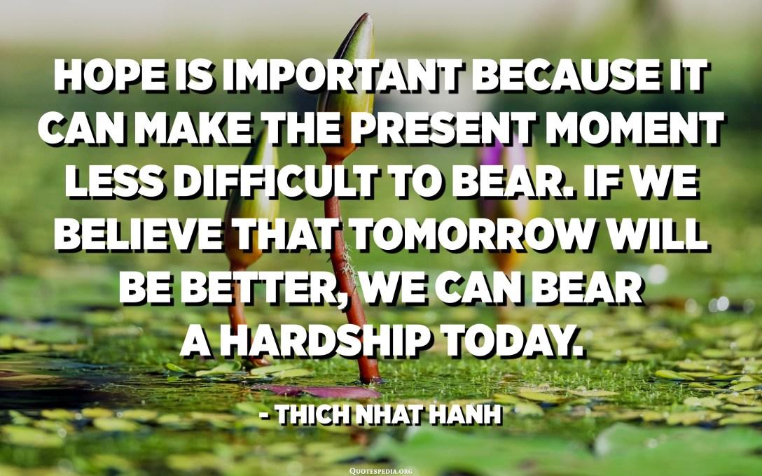 La esperanza es importante porque puede hacer que el momento presente sea menos difícil de soportar. Si creemos que mañana será mejor, podemos soportar una dificultad hoy. - Thich Nhat Hanh