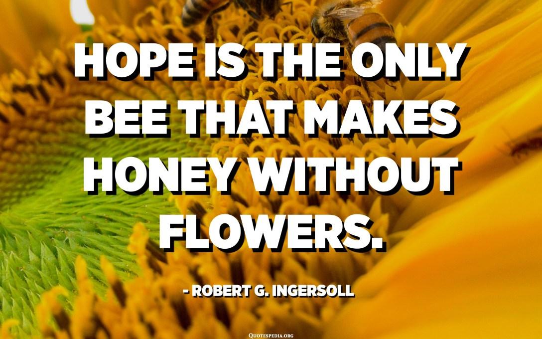 A remény az egyetlen méh, amelyvirág nélküli virágméz. - Robert G. Ingersoll