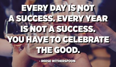 Every day is not a success. Every year is not a success. You have to celebrate the good. - Reese Witherspoon
