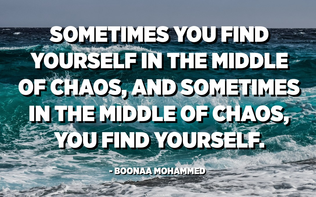 Sometimes you find yourself in the middle of chaos, and sometimes in the middle of chaos, you find yourself. - Boonaa Mohammed