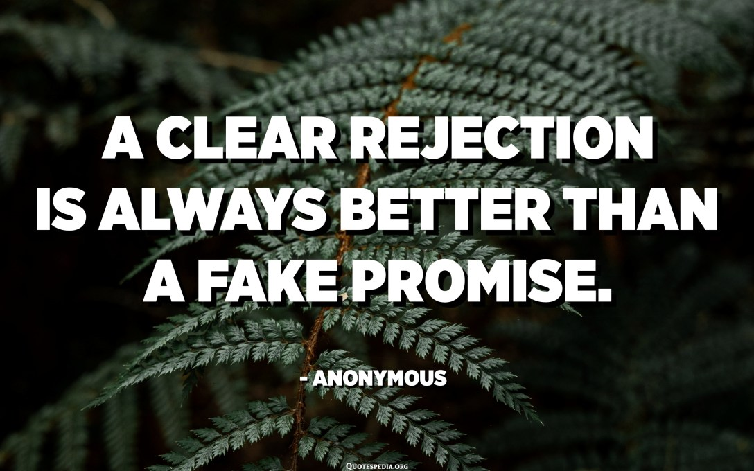 A clear rejection is always better than a fake promise. - Anonymous