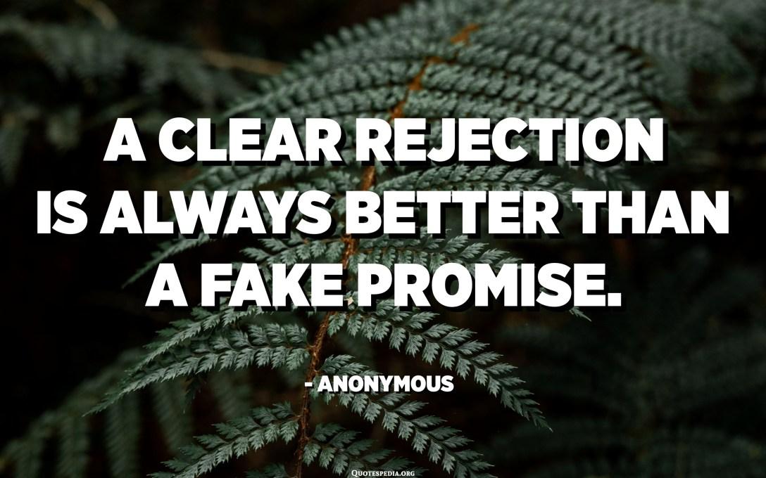 Penolakan sing jelas mesthi luwih becik tinimbang janji palsu. - Anonymous