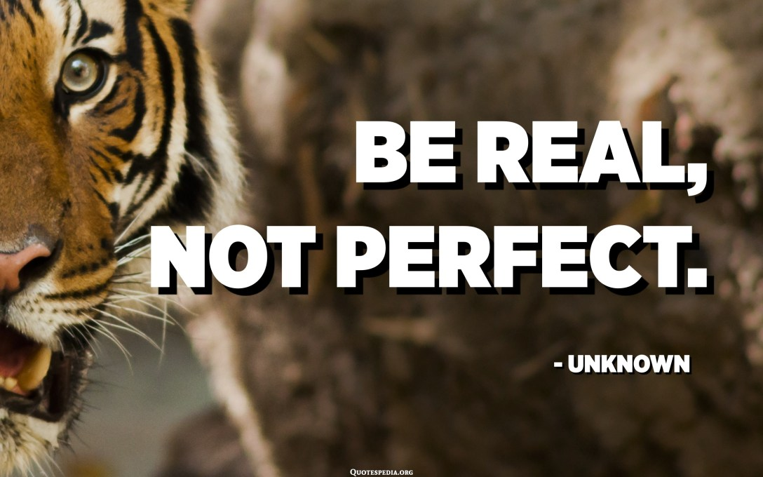 Be real, not perfect. - Unknown