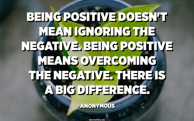 Being positive doesn't mean ignoring the negative. Being positive means overcoming the negative. There is a big difference. - Anonymous