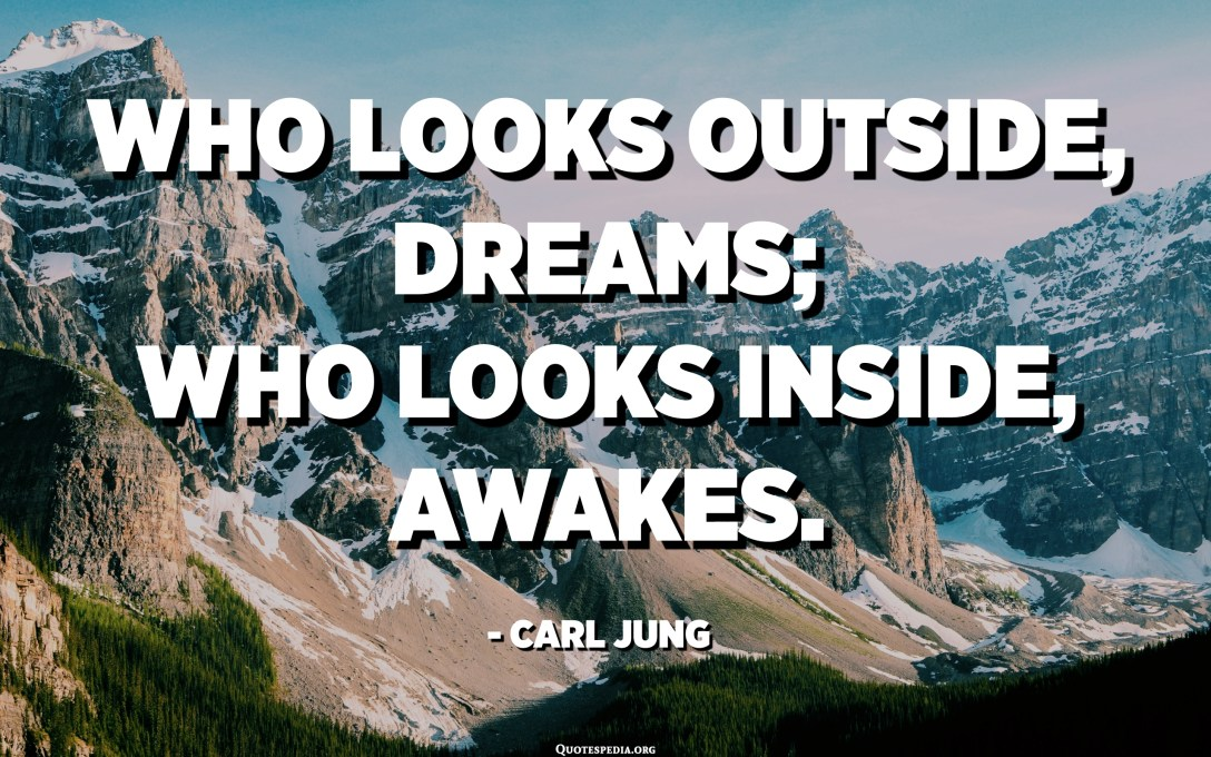 Who looks outside, dreams; Who looks inside, awakes. - Carl Jung
