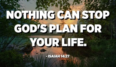 Nothing can stop God's plan for your life. - Isaiah 14:27