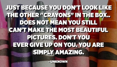 "Just because you don't look like the other ""crayons"" in the box.. does not mean you still can't make the most beautiful pictures. Don't you ever give up on you. You are simply amazing. - Unknown"