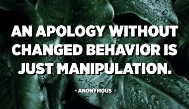 An apology without changed behavior is just manipulation. - Anonymous