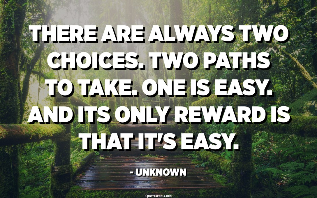 There are always two choices. Two paths to take. One is easy. And its only reward is that it's easy. - Unknown
