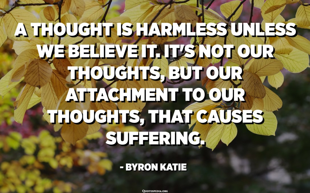 A thought is harmless unless we believe it. It's not our thoughts, but our attachment to our thoughts, that causes suffering. - Byron Katie