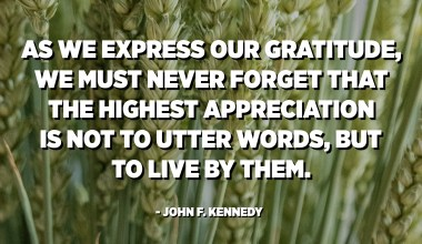 As we express our gratitude, we must never forget that the highest appreciation is not to utter words, but to live by them. - John F. Kennedy