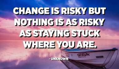 Change is risky but nothing is as risky as staying stuck where you are. - Unknown