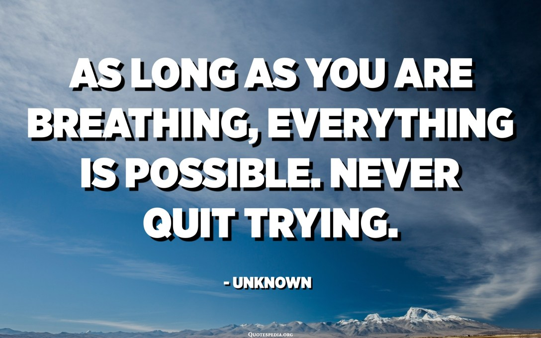 As long as you are breathing, everything is possible. Never quit trying. - Unknown