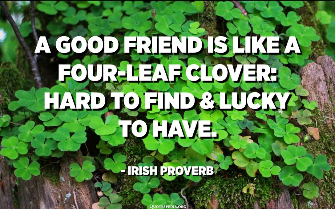 A good friend is like a four-leaf clover: hard to find and lucky to have. - Irish Proverb
