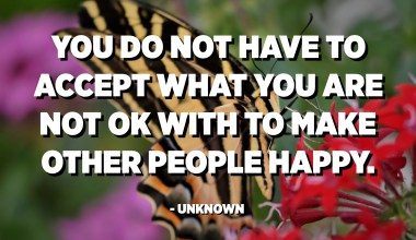 You do not have to accept what you are not ok with to make other people happy. - Unknown
