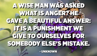 A wise man was asked what is anger? He gave a beautiful answer: It is a punishment we give to ourselves for somebody else's mistake. - Unknown