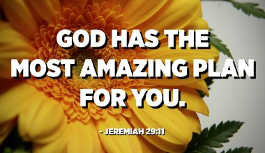 God has the most amazing plan for you. - Jeremiah 29:11