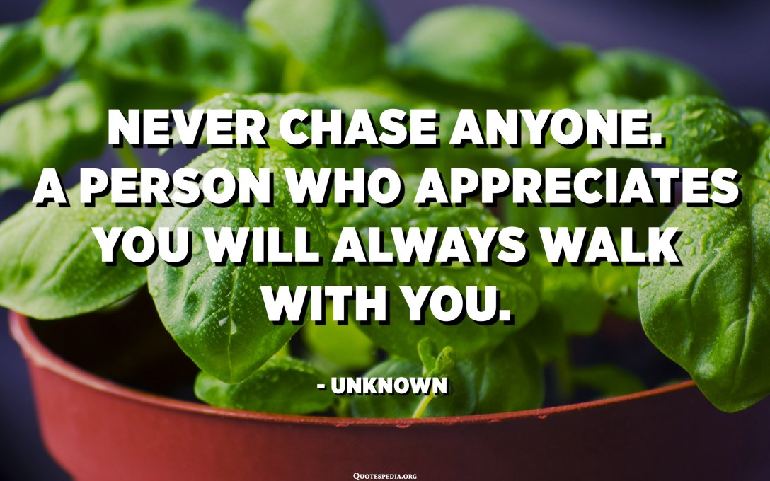Never chase anyone. A person who appreciates you will always walk with you. - Unknown
