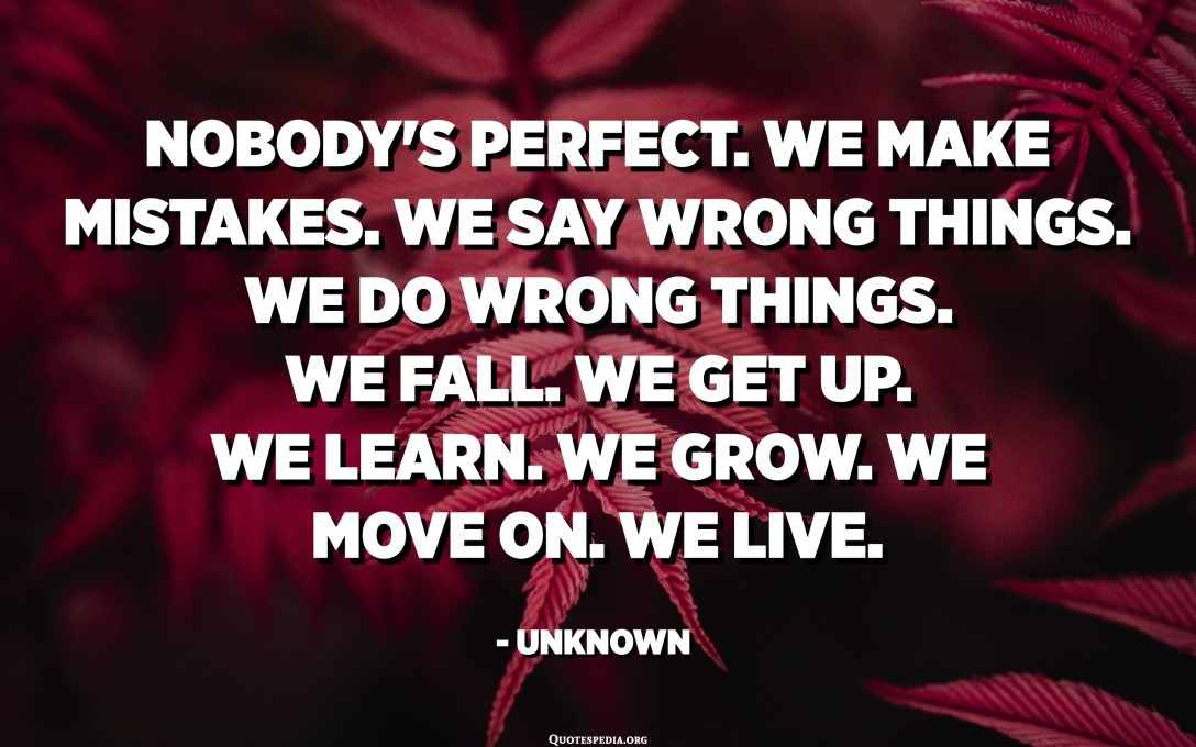 Nobody's perfect. We make mistakes. We say wrong things. We do wrong things. We fall. We get up. We learn. We grow. We move on. We live. - Unknown