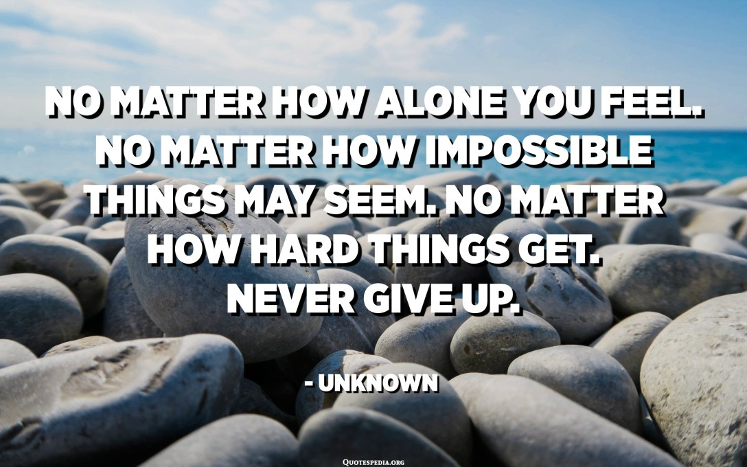 No matter how alone you feel. No matter how impossible things may seem. No matter how hard things get. Never Give Up. - Unknown