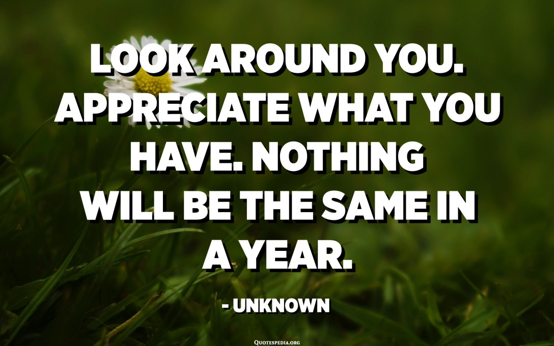 Look around you. Appreciate what you have. Nothing will be the same in a year. - Unknown