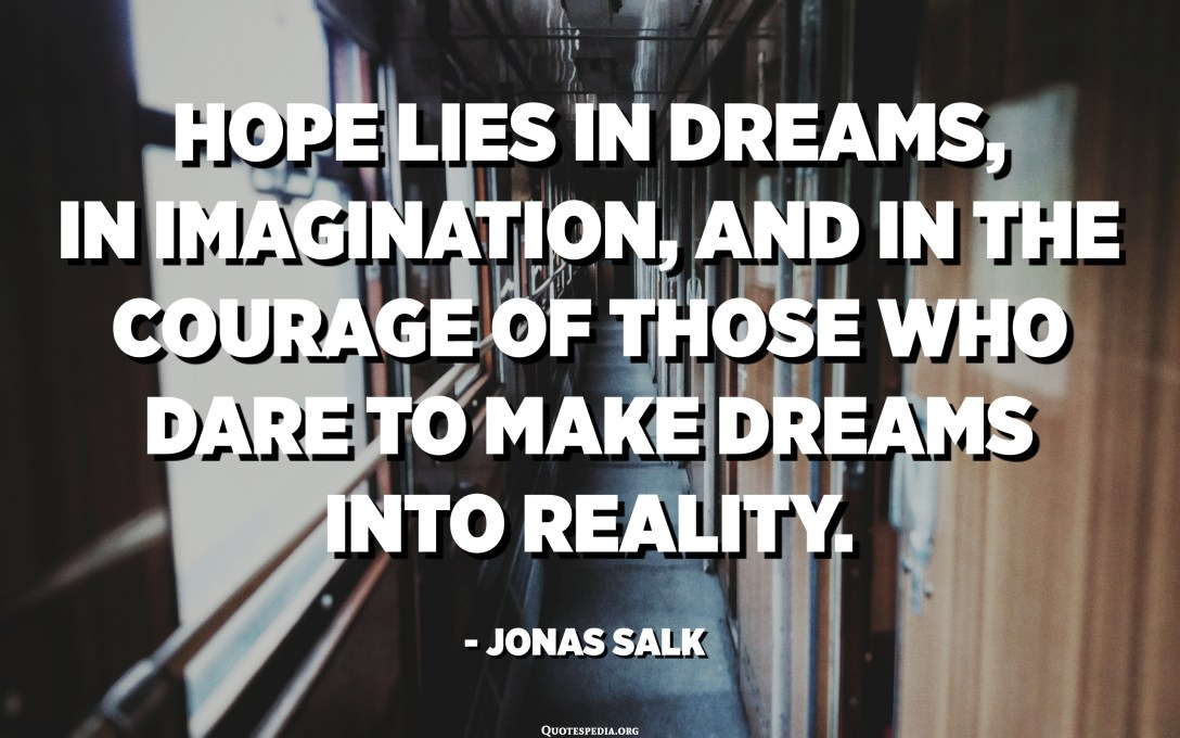 Hope lies in dreams, in imagination, and in the courage of those who dare to make dreams into reality. - Jonas Salk
