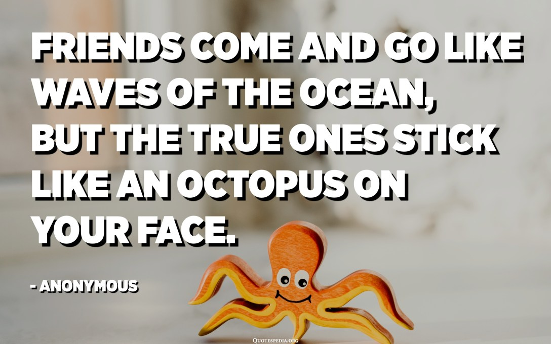 Friends come and go like waves of the ocean, but the true ones stick like an octopus on your face. - Anonymous